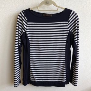 The Limited Navy/White Striped Long-sleeved Tee, M